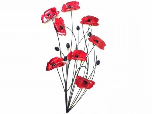 Famous Metal Wall Art – Poppy Flower Bunch Black Stems Inside Metal Poppy Wall Art (View 2 of 15)