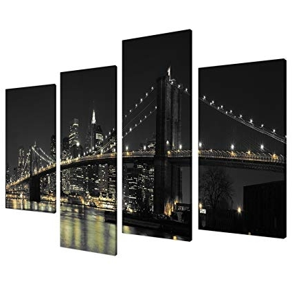 Famous New York Skyline Canvas Black And White Wall Art Regarding Amazon: Large New York City Canvas Wall Art Pictures Of Nyc (View 14 of 15)