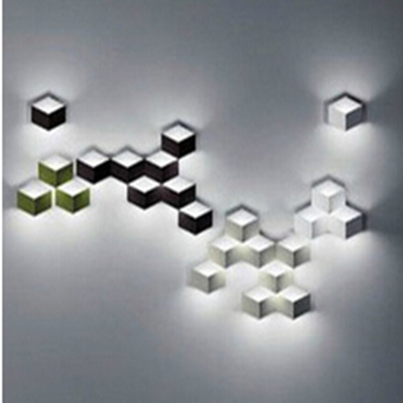 Famous Online Shop Flod Magic Led Wall Light Aluminum Stereo Rhombus Ice Throughout Cubes 3D Wall Art (View 12 of 15)