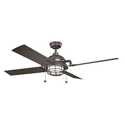 """Famous Outdoor Ceiling Fans At Kichler Regarding Kichler 310136Wzc Maor Patio Outdoor Ceiling Fan, 65"""", Olde Bronze (View 2 of 15)"""