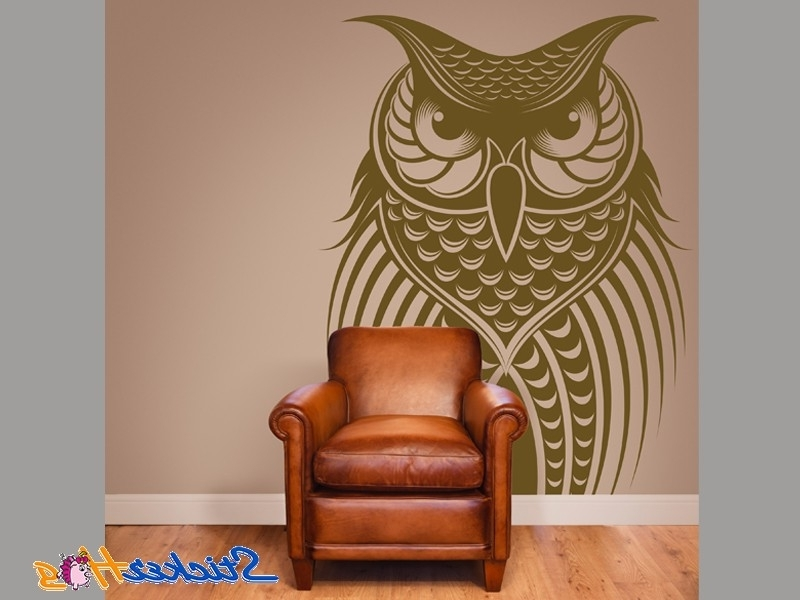 Famous Owl Bird Vinyl Wall Art Decals With Owl Wall Art Stickers (View 6 of 15)