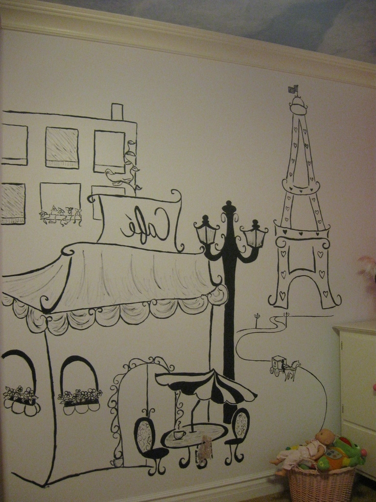 Famous Paris Themed Wall Art Throughout Wall Art Ideas Design : Hand Drawn Paris Themed Wall Art, Paris Cafe (View 4 of 15)