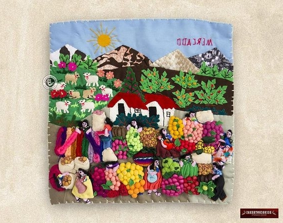 Famous Peruvian Quilted Wall Hangings 10X10In – Arpillera Wall Ornaments Within Peruvian Wall Art (View 6 of 15)