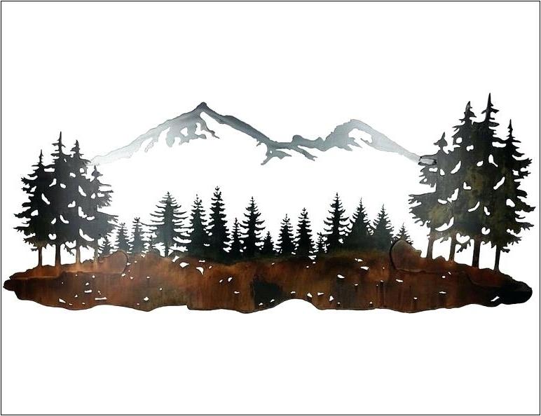 Famous Pine Tree Metal Wall Art Pine Tree Forest Metal Wall Art In Pine Tree Wall Art (View 11 of 15)