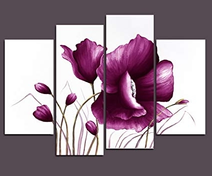 Famous Plum Wall Art Throughout Amazon: Wieco Art Purple Plum Flowers Canvas Prints Wall Art (View 5 of 15)