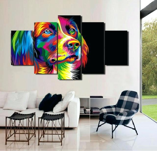 Famous Rainbow Canvas Wall Art Rainbow Dog Modern Art 5 Piece Canvas Wall Inside Limited Edition Canvas Wall Art (View 4 of 15)