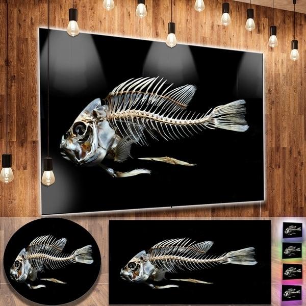 Famous Shop Designart 'fish Skeleton Bone On Black' Large Animal Metal Wall In Fish Bone Wall Art (View 9 of 15)