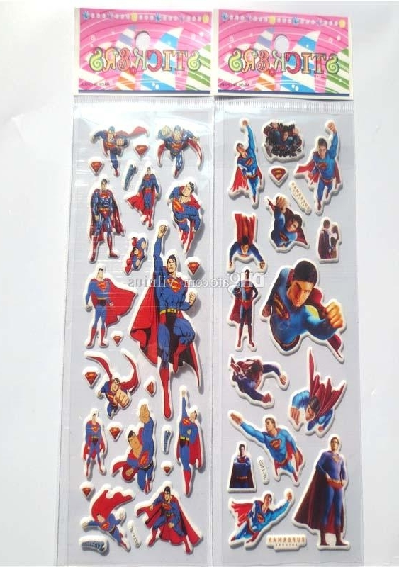 Famous Superhero Wall Art For Kids Within 2018 Hot!100Sheets Superman Wall Stickers, Superhero Superman (View 8 of 15)