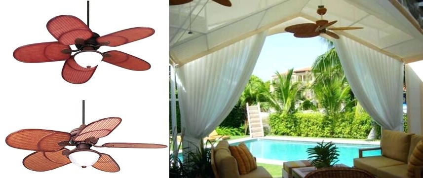 Famous Tropical Outdoor Ceiling Fans With Lights Regarding Tropical Outdoor Ceiling Fans With Lights Rattan Outdoor Tropical (View 14 of 15)