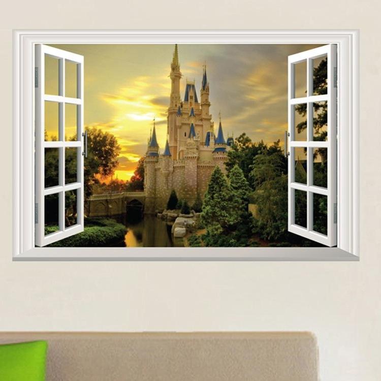 Famous Venezuela Wall Art 3D Inside 3D Window View Wall Art Mural Decor Castle Orchard Of Harvest Lane (View 11 of 15)