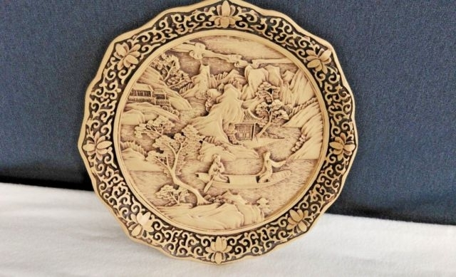 Famous Vintage 3D Wall Art For Vintage Finely Detailed Oriental 3D Wall Art Round Picture Plaque (View 7 of 15)