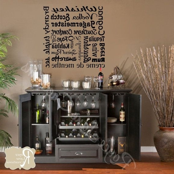 Famous Wall Art For Bar Area In Bar Wall Decal Liquor Names Word Art Bar Wall Decor Bar Art Bar Wall (View 4 of 15)