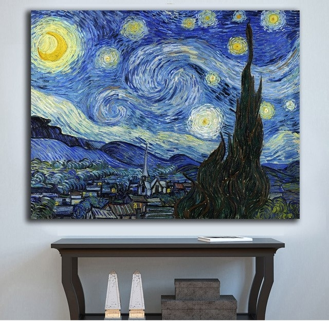 Famous Wall Art Starry Nightvincent Van Gogh Canvas Painting For Living In Vincent Van Gogh Wall Art (View 4 of 15)