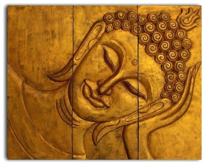 Famous Wood Wall Art Wooden Reclining Face Panel Buddha India Magnificent W In Buddha Wood Wall Art (View 8 of 15)