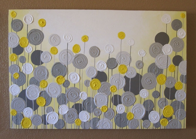 Famous Yellow And Grey Abstract Wall Art Intended For Yellow And Gray Canvas Wall Art Astound Grey Textured Painting (View 9 of 15)