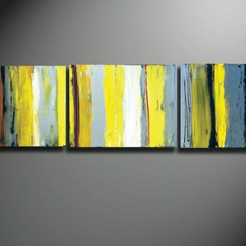 Famous Yellow Canvas Art, Gray And Yellow Art, From Oritart On Etsy Pertaining To Large Yellow Wall Art (View 5 of 15)