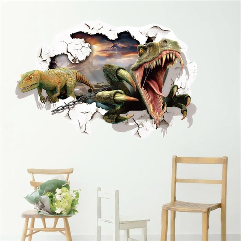Fashion Visual Waterproof 60X90Cm 3D Jurassic World Dinosaur Wall With Well Known 3D Visual Wall Art (View 7 of 15)