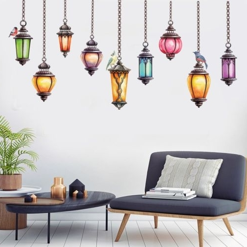 Fashionable 1Pc Colorful Hanging Lamp Wall Decals Exotic Stickers Art Vinyl Throughout Exotic Wall Art (View 9 of 15)