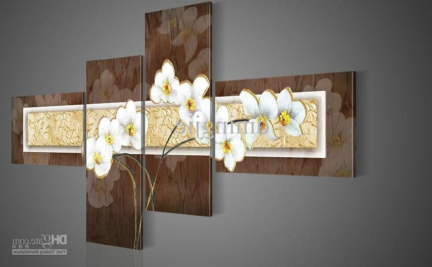 Fashionable 2018 Hand Painted Wall Art Thick Brown White Landscape Oil Paintings With Regard To Brown Framed Wall Art (View 3 of 15)