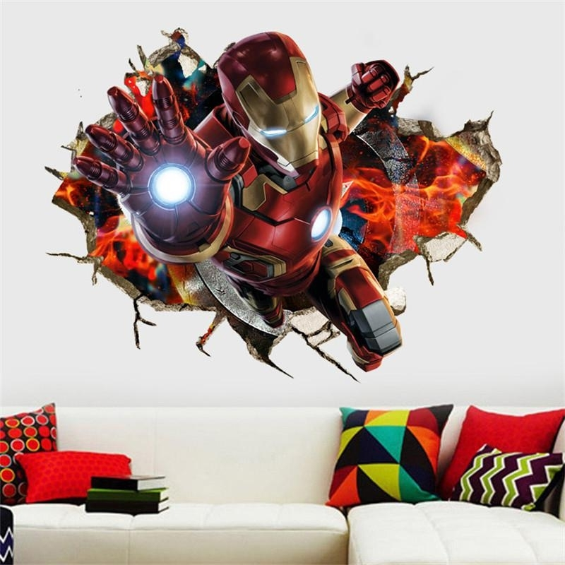 Fashionable 3D Cartoon Iron Man Hero Broken Wall Stickers For Kids Rooms Nursery Pertaining To Iron Man 3D Wall Art (View 2 of 15)