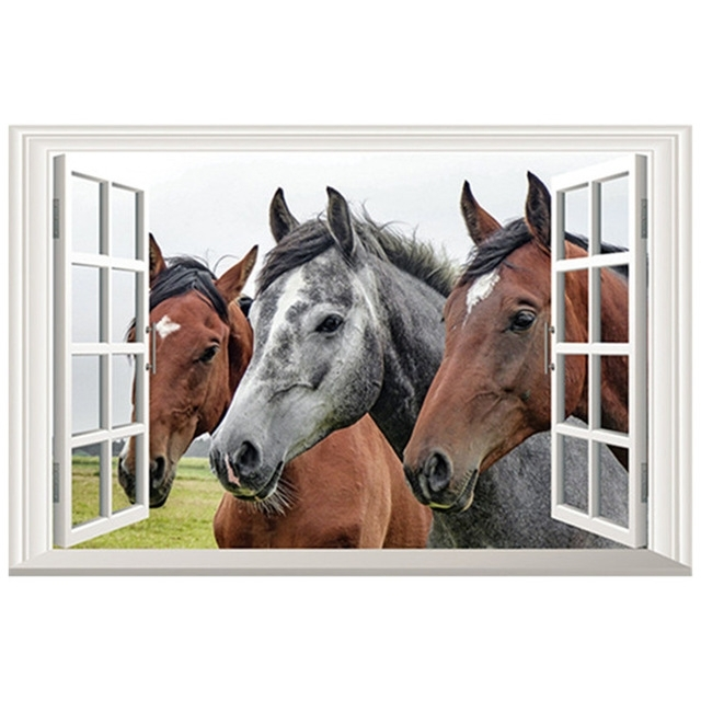 Fashionable 3D Horse Wall Art For 3D Horse Head Fake Window Stickers Grassland Scenery Animal Wall Art (View 7 of 15)