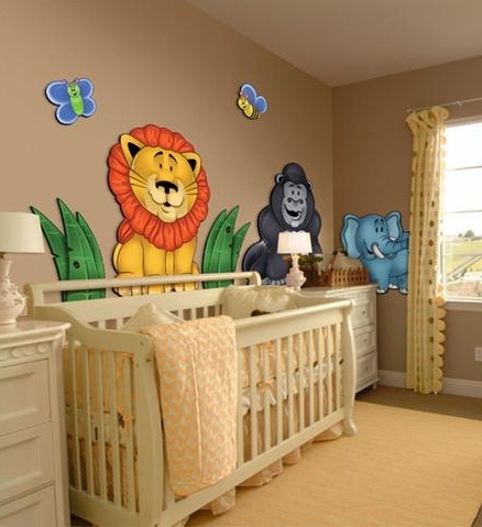 Fashionable 3D Wall Art For Baby Nursery Inside Large 3D Wall Stickers For Nursery Or Kids Room – Jungle Animals Zoo (View 7 of 15)