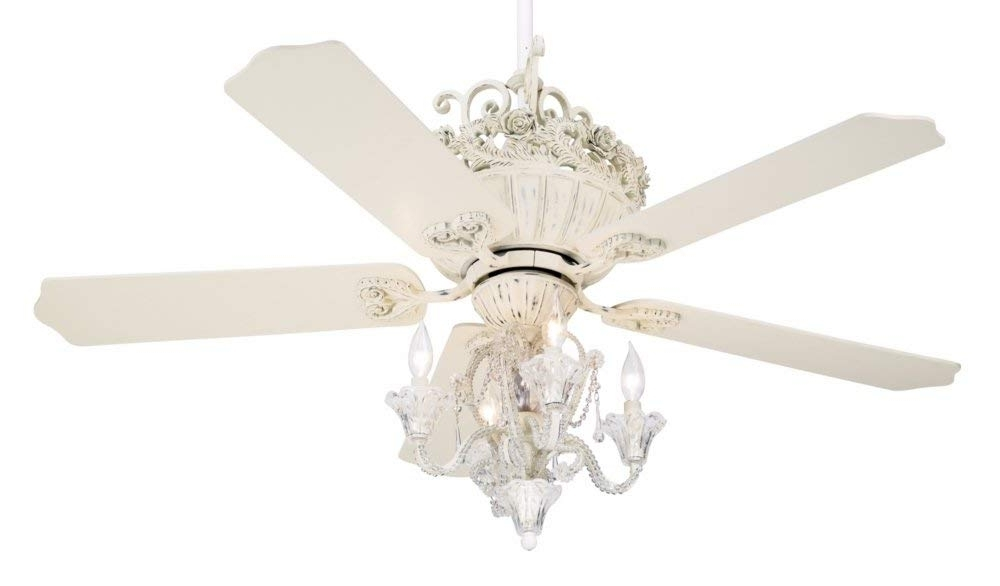 """Fashionable 52"""" Casa Chic Rubbed White Ceiling Fan With 4 Light Kit – – Amazon Within White Outdoor Ceiling Fans With Lights (View 7 of 15)"""