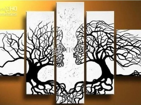 Fashionable Abstract Black White Oil Painting Couple Love Tree Home Office With Inside Abstract Wall Art For Office (View 4 of 15)