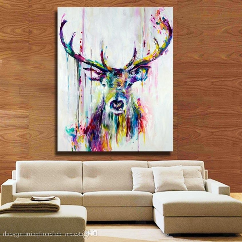 Fashionable Abstract Deer Wall Art Intended For 1Peices Wall Canvas Art Abstract Deer Painting Living Room Wall (View 15 of 15)