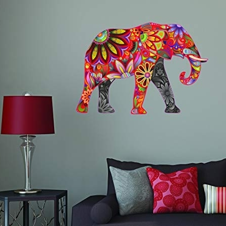 Fashionable Abstract Elephant Wall Art Throughout Red Abstract Elephant Full Colour Wall Sticker Wall Decal Wall Art (View 9 of 15)