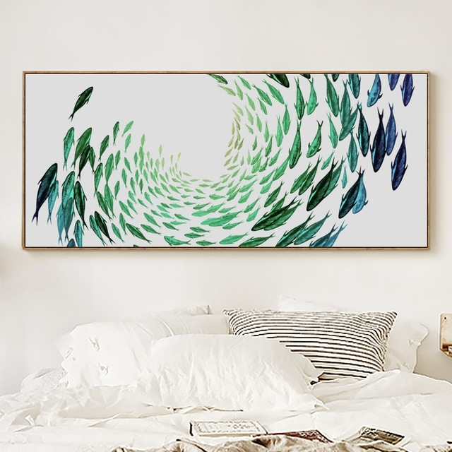 Fashionable Abstract Fish Wall Art Regarding Fghgf Simple Life Zen Abstract Fish Banner Canvas Painting Art Print (View 9 of 15)