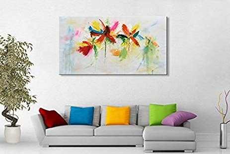 Fashionable Abstract Floral Wall Art Throughout Amazon: Seekland Art Hand Painted Abstract Floral Canvas Wall (View 7 of 15)