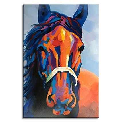 Fashionable Abstract Horse Wall Art With Regard To Amazon: Hand Painted Colorful Abstract Horse Wall Art Modern Oil (View 6 of 15)