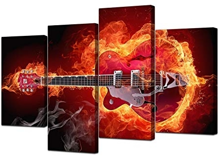 Fashionable Abstract Red Guitar Canvas Wall Art Pictures 130Cm Xl Prints Set Regarding Guitar Canvas Wall Art (View 6 of 15)