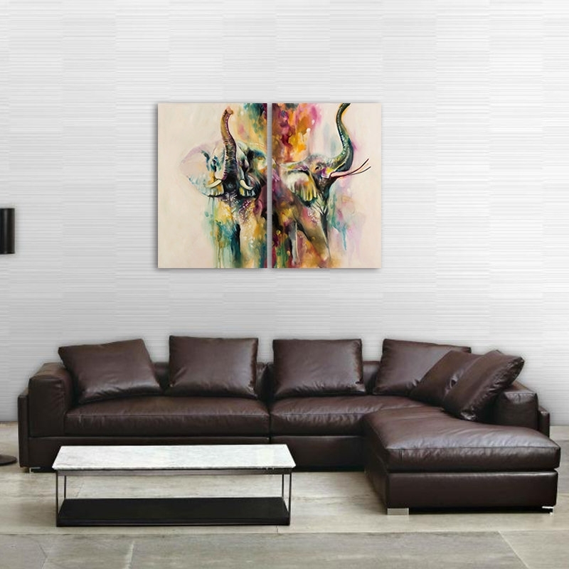 Fashionable Abstract Wall Art For Bedroom In 2Pcs Elephant Modern Abstract Canvas Painting Frameless Wall Art (View 6 of 15)