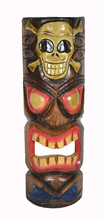 "Fashionable Amazon: 20"" Hand Carved Flame Tiki Mask Hawaiian Polynesian Wall In Hawaiian Wall Art (View 14 of 15)"