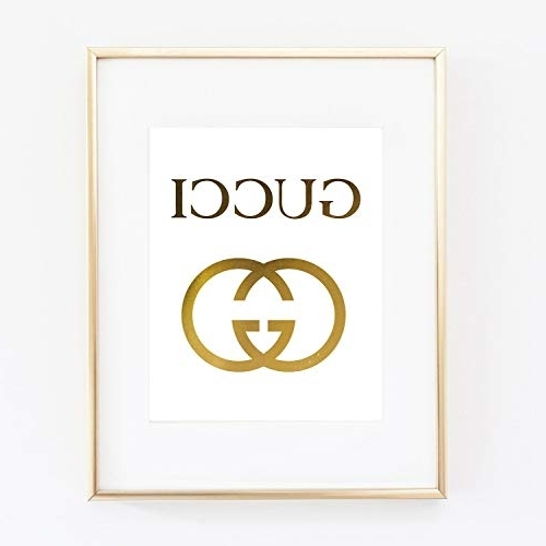 Fashionable Amazon: Gucci Logo Poster Real Gold Foil Print Wall Art Prada Pertaining To Prada Wall Art (View 3 of 15)