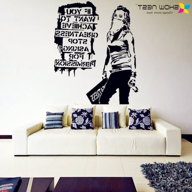 Fashionable Banksy Vinyl Wall Decal Want To Achieve Greatness Graffiti Street Pertaining To Graffiti Wall Art Stickers (View 4 of 15)