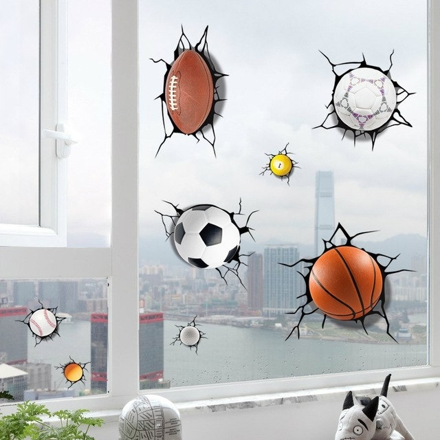Fashionable Baseball 3D Wall Art With Simulation 3D Broken Football Basketball Volleyball Billiards (View 7 of 15)