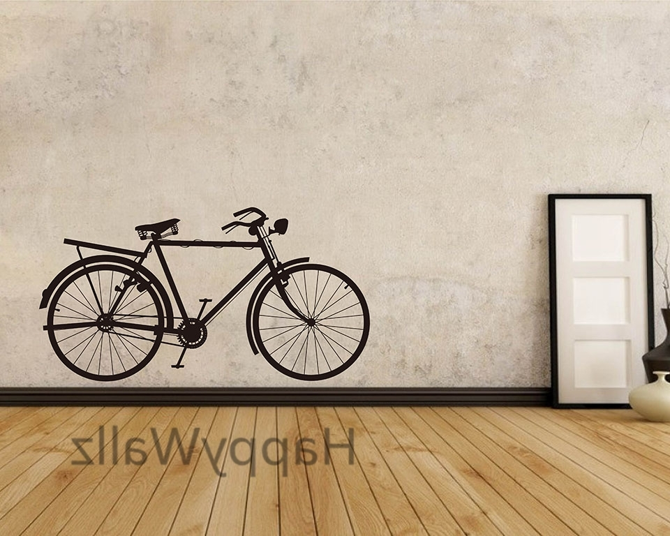 Fashionable Bike Wall Art Intended For Bike Wall Sticker Modern Bicycle Wall Decal Diy Decorating Modern (View 4 of 15)