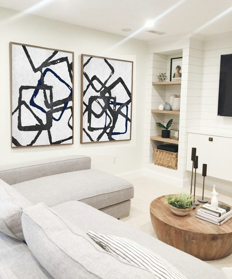 Fashionable Blue And White Wall Art Regarding Set Of 2 Huge Contemporary Art Acrylic Painting On Canvas (View 10 of 15)