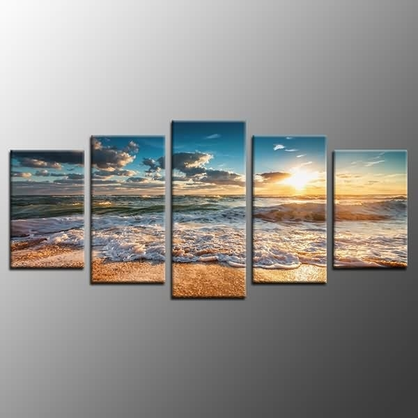 Fashionable Canvas Landscape Wall Art In Framed Landscape Wall Art Decor Beach Sunrise Waves Photo Canvas (View 5 of 15)