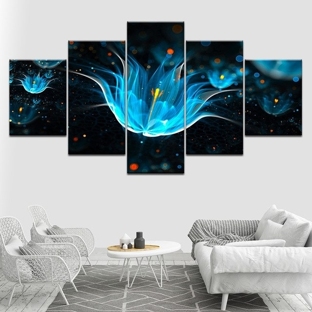 Fashionable Canvas Painting Abstract Neon Flower Wall Art Pictures 5 Pieces Inside Abstract Neon Wall Art (View 7 of 15)
