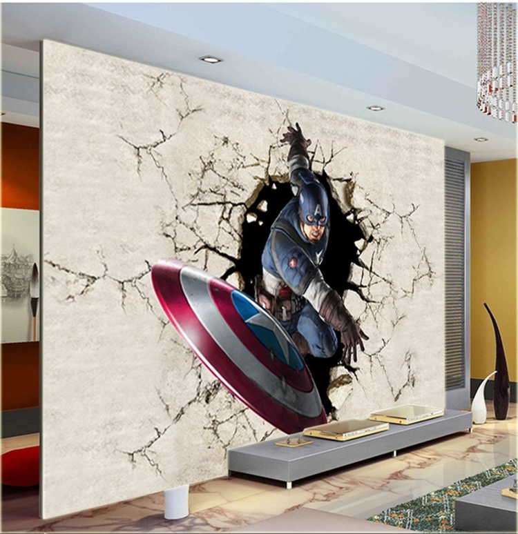 Fashionable Captain America 3D Wall Art Throughout 3D View Wallpaper Captain America Photo Wallpaper Silk Mural Large (View 3 of 15)