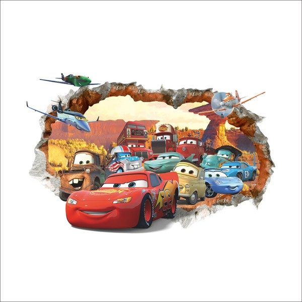Fashionable Cars Lightning Mcqueen 3D Pvc Removable Broken Wall Stickers For Inside Lightning Mcqueen Wall Art (View 8 of 15)