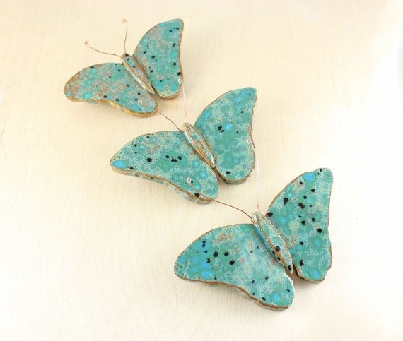 Fashionable Ceramic Butterflies – Three Bright Butterflies – Ceramic Wall Art In Ceramic Butterfly Wall Art (View 9 of 15)