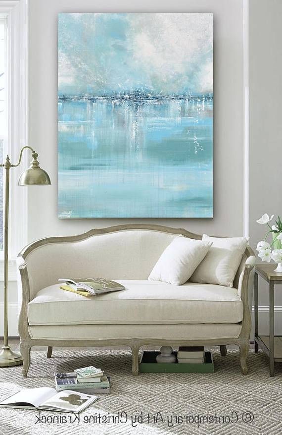Fashionable Coastal Wall Art Canvas Pertaining To Giclee Print Large Art Abstract Painting Blue White Grey Wall Art (View 8 of 15)