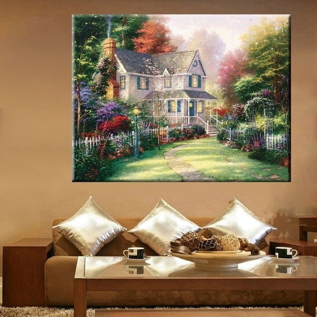 Fashionable Cottage In Spring Garden Landscape Wall Art Painting Canvas Print Within Canvas Landscape Wall Art (View 6 of 15)