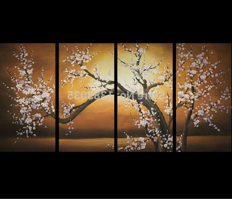 Fashionable Delighful Piece Hand Painted Modern Abstract Flowers Oil Paintings 4 Within Cherry Blossom Oil Painting Modern Abstract Wall Art (View 13 of 15)