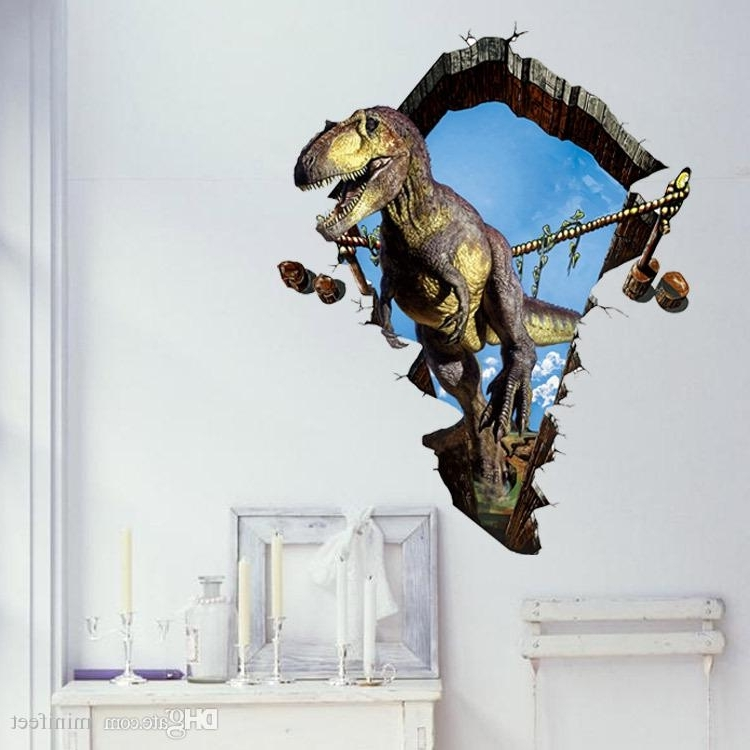 Fashionable Dinosaurs 3D Wall Art For Dinosaur 3D Stickers Cartoon Creative Pvc Waterproof Wallpapers Self (View 15 of 15)